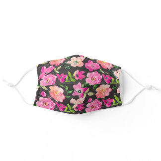 Pink Purple Watercolor Flowers Green Leaves Black Adult Cloth Face Mask