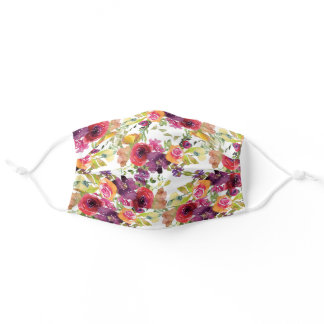 Pink Purple Yellow Watercolor Floral White Adult Cloth Face Mask