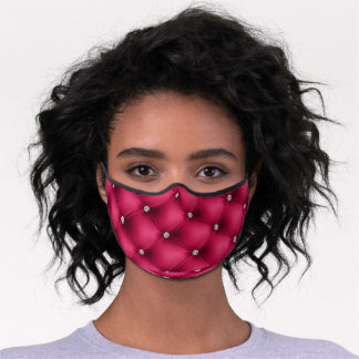 Pink Quilted Rhinestone Studded Print Premium Face Mask