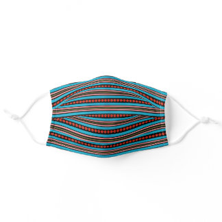 Pink Red Yellow Turquoise Blue Black Art Striped Adult Cloth Face Mask