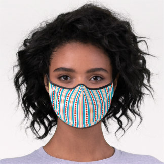 Pink Red Yellow Turquoise Blue White  Art Striped Premium Face Mask