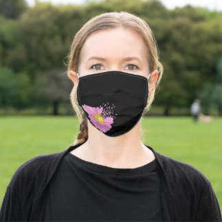 Pink Ribbon Daisy on black Adult Cloth Face Mask