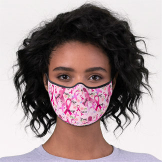Pink Ribbon Personalize Words & Name Breast Cancer Premium Face Mask