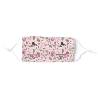Pink romantic cat beauties on peony flowers adult cloth face mask