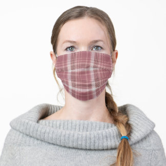 Pink Rose Gold For her Plaid Pattern Adult Cloth Face Mask