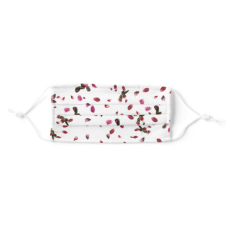 pink rose petals and leaves adult cloth face mask