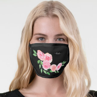 Pink Roses Black Your Name Face Mask