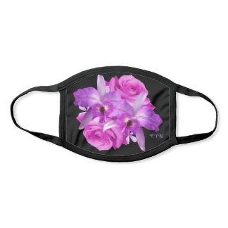 Pink Roses Purple Orchids All Over Print Face Mask
