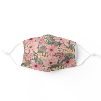 Pink Sage Green Flowers Leave Watercolor Safety Adult Cloth Face Mask