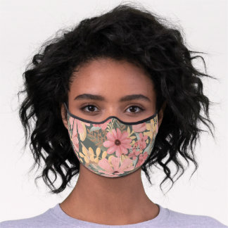 Pink Sage Green Flowers Leave Watercolor Safety Premium Face Mask