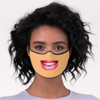 Pink smiling lips premium face mask