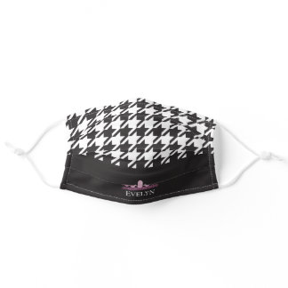 Pink Tiara Black and White Houndstooth Adult Cloth Face Mask