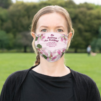 Pink Tiger Lily Scripture Matthew 6:28 Adult Cloth Face Mask