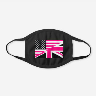 pink uk usa flag black cotton face mask