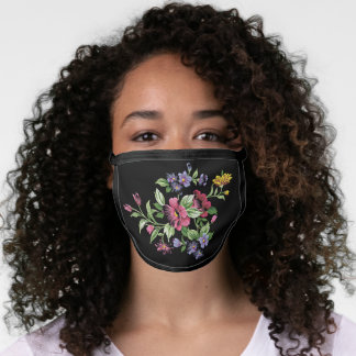 Pink Violet Purple Blue Green Flowers On Black Face Mask