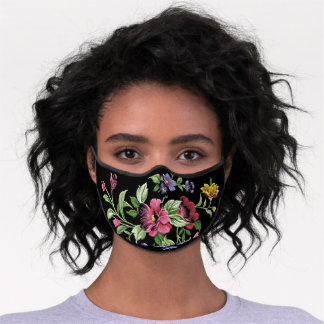 Pink Violet Purple Blue Green Flowers On Black Premium Face Mask
