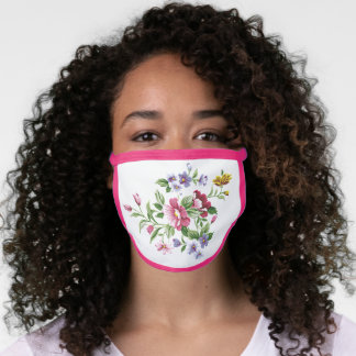 Pink Violet Purple Blue Green Flowers On White Face Mask