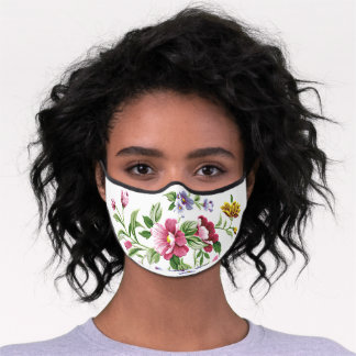 Pink Violet Purple Blue Green Flowers On White Premium Face Mask