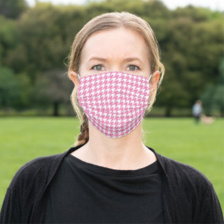 Pink White Houndstooth Pattern Social Distancing Adult Cloth Face Mask