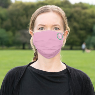 pink -white monogram initial adult cloth face mask