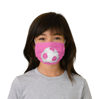 Pink white soccer ball kids' cloth face mask
