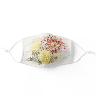 Pink, White & Yellow Vintage Chrysanthemums Adult Cloth Face Mask
