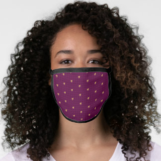 Pink with Gold Accent Houndstooth Face Mask
