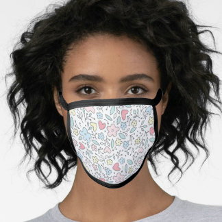 Pink Yellow Blue Floral Pastels Pattern White Face Mask