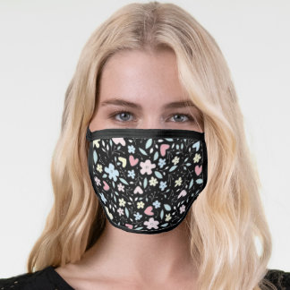Pink Yellow Blue Pastels Florals Pattern Black Face Mask