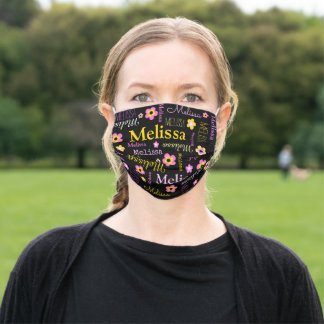 Pink yellow flower custom name Melissa Cloth Face Mask