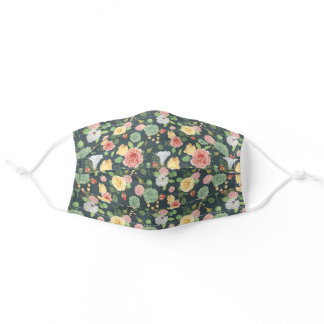 Pink Yellow White Flowers Hunter Forest Green Adult Cloth Face Mask