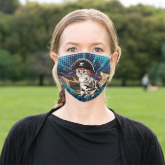 pirate cat adult cloth face mask