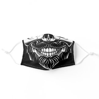 Pirate Skull Beard with Mustache Adult Cloth Face Mask