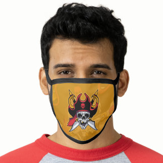 Pirate Skull Black Cotton & Poly Blend Facemask Face Mask