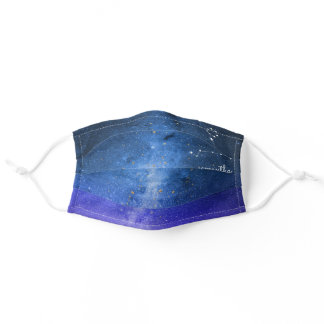 Pisces Zodiac Stars Indigo Night Blue Personalized Adult Cloth Face Mask
