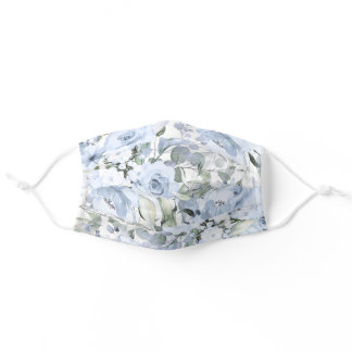 PixDezines Delicate Dusty Blue Roses Adult Cloth Face Mask
