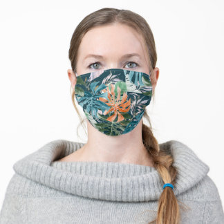 PixDezines Watercolor Teal Rust Monstera Pattern Adult Cloth Face Mask
