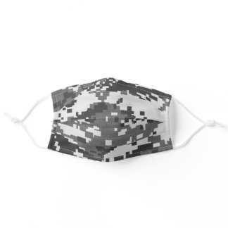 Pixel Grey Camouflage Adult Cloth Face Mask