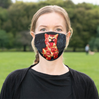 pizza cat - kitty - pussycat adult cloth face mask