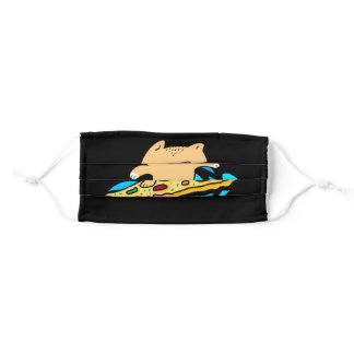 Pizza Cat Surfing On Pizza Adult Cloth Face Mask