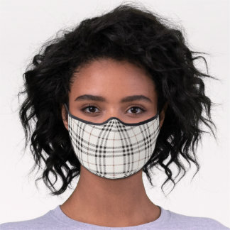 Plaid Check Pattern Pastel Grey Beige Brown White Premium Face Mask