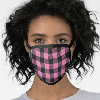 Plaid Check Pink and Black Face Mask