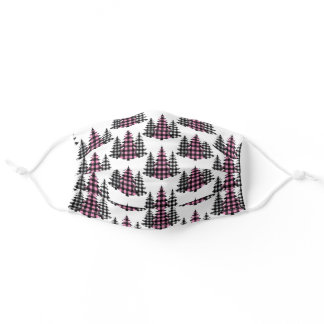 Plaid Christmas Trees Holiday Adult Cloth Face Mask