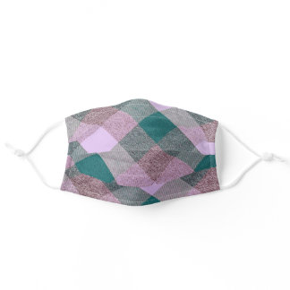 Plaid Pattern Lavender Green Brown Adult Cloth Face Mask