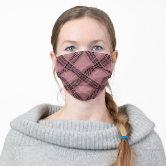 Plaid Pink Rose Gold pattern Adult Cloth Face Mask