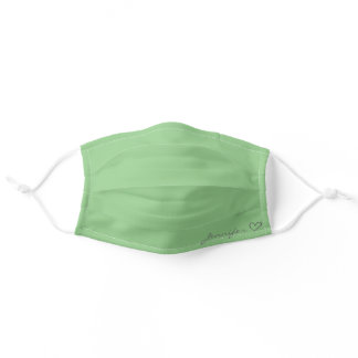 Plain Green Simple Calligraphy Heart Personalized Adult Cloth Face Mask