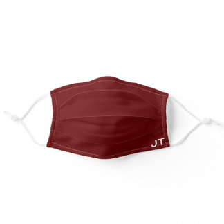 Plain Maroon Personalized Mens Initials Reusable Adult Cloth Face Mask
