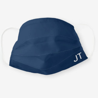 Plain Navy Blue Personalized Mens Initial Reusable Cloth Face Mask