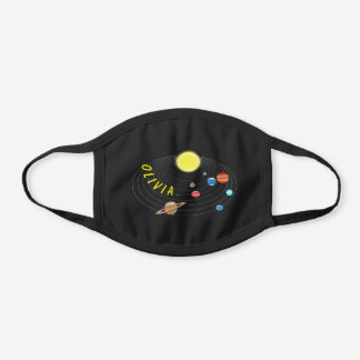Planets & Orbits, personalized Black Cotton Face Mask