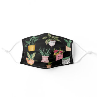 Plant Lady | Watercolor Potted Plants, Black Adult Cloth Face Mask